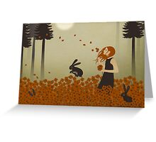 Red Hair & Red Poppies Greeting Card