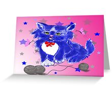 Fantasy and unique blue kitty Greeting Card