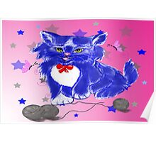 Fantasy and unique blue kitty Poster