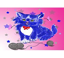 Fantasy and unique blue kitty Photographic Print