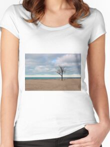 A tree by the lake. Women's Fitted Scoop T-Shirt