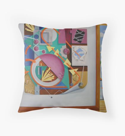 A Painting in a Painting with Doorway Throw Pillow