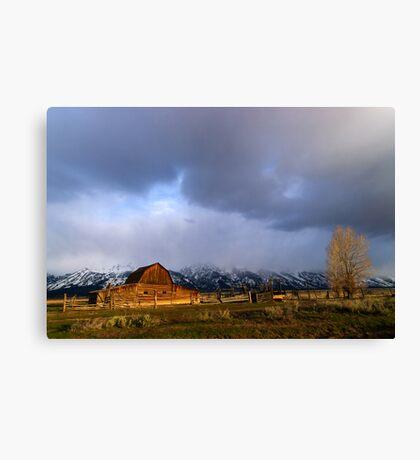 Moulton Barn, Mormon Row - Teton Sunrise - Wide Canvas Print