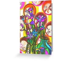 Iris flowers and paper cups Greeting Card
