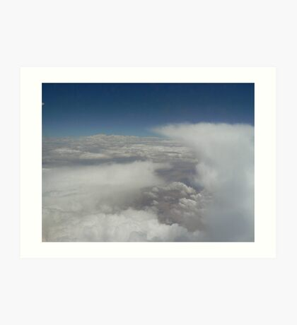 clouds, land, sky, scenery, white, blue, earth Art Print