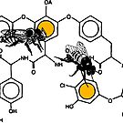 Bees making honey on macromolecular structure as a bee house  by SofiaYoushi