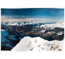 scenic view of snow covered mountains from arosa  Poster