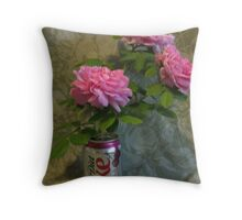 Roses in a Can Throw Pillow
