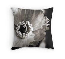Black and White Poppy Throw Pillow