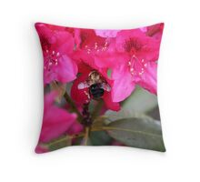 Bee and Rhododendron Throw Pillow