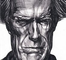 Clint Eastwood Drawing, 2013. Black Ink Pen on Paper. by MarianneSebetti