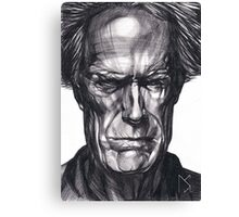 Clint Eastwood Drawing, 2013. Black Ink Pen on Paper. Canvas Print