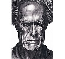 Clint Eastwood Drawing, 2013. Black Ink Pen on Paper. Photographic Print