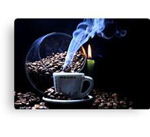 A cup of smoking hot coffee. Canvas Print