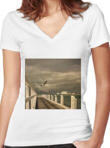 Sorrento - near ferry terminal Women's Fitted V-Neck T-Shirt