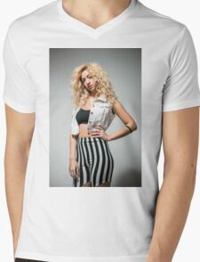 Young arrogant Hip female teen with blond curly hair  Mens V-Neck T-Shirt