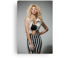 Young arrogant Hip female teen with blond curly hair  Canvas Print