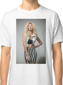 Young arrogant Hip female teen with blond curly hair  Classic T-Shirt