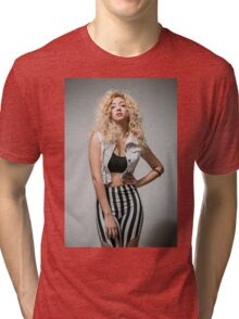 Young arrogant Hip female teen with blond curly hair  Tri-blend T-Shirt