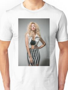 Young arrogant Hip female teen with blond curly hair  Unisex T-Shirt