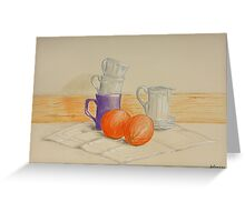 Still life with cups and oranges Greeting Card