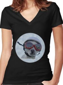 Chihuahua and the Bike Safety Message Women's Fitted V-Neck T-Shirt