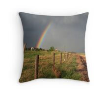 Disappearing double rainbow Throw Pillow