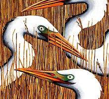 Three Egrets by Laural Retz Studio