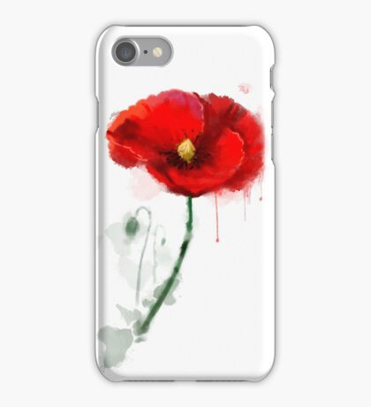 Red Poppy watercolor painting iPhone Case/Skin