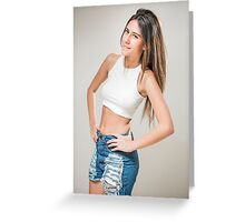 Young teen with long brown hair in jeans and white crop top Greeting Card
