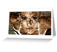 Female face in puzzle portrait Greeting Card