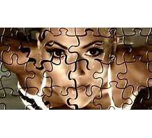 Female face in puzzle portrait Photographic Print