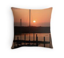 Sunset from Gold Beach Harbor Throw Pillow