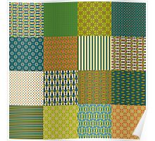 Earth Colours Abstract Patterns Faux Patchwork Poster