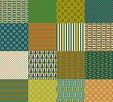 Earth Colours Abstract Patterns Faux Patchwork by helikettle