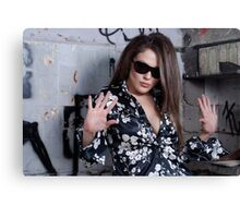 Stunning Female face with sunglasses Canvas Print