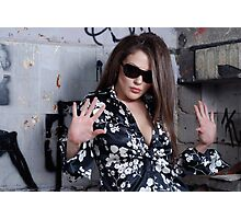 Stunning Female face with sunglasses Photographic Print