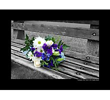 Northport Harbor Bench With A Bouquet Of Flowers - Northport, New York Photographic Print