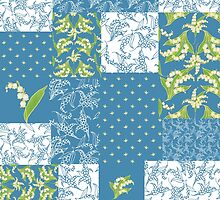 Lily-of-the-Valley Faux Patchwork Blue by helikettle