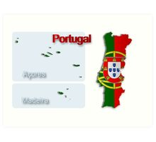 Map of Portugal 2.5 Art Print
