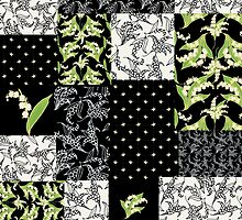 Lily-of-the-Valley Faux Patchwork Black by helikettle