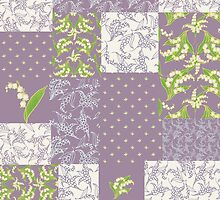 Lily-of-the-Valley Faux Patchwork Mauve by helikettle