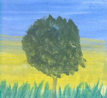 Tree in Tall Grass by Helene Henderson