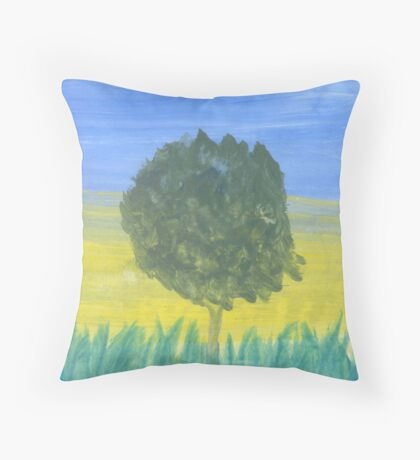 Tree in Tall Grass Throw Pillow