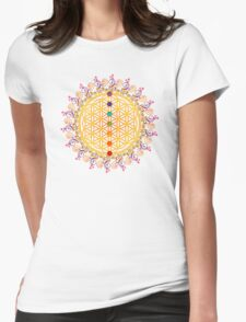 FLOWER OF LIFE, CHAKRAS, SPIRITUALITY, YOGA, ZEN,  Womens Fitted T-Shirt