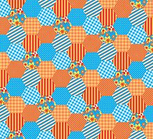Sky Blue and Orange Floral Faux Patchwork Hexagons Pattern by helikettle