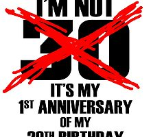 I'M NOT 30 IT'S MY 1ST ANNIVERSARY OF MY 28TH BIRTHDAY by cutetees