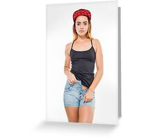 Playful female teen with red baseball cap wearing black top  Greeting Card