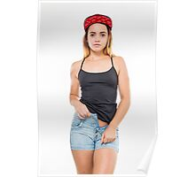 Playful female teen with red baseball cap wearing black top  Poster