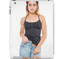 Playful female teen with red baseball cap wearing black top  iPad Case/Skin